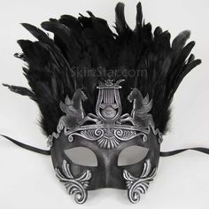 Men's masquerade mask with feathers