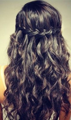 Easy waterfall braid with curls.