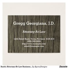 Shop Rustic Attorney-At-Law Business Card created by AponxDesigns. Simple Business Cards, Business Card Design, Attorney At Law, Card Designs, Lawyer, Rustic, Nice, Country Primitive, Card Patterns