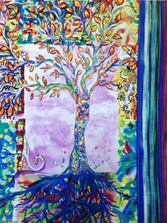 Tree of Life Quilted Wall Art Modern Art by StitchesnQuilts