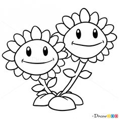 How To Draw Twin Sunflower Plants Vs Zombies