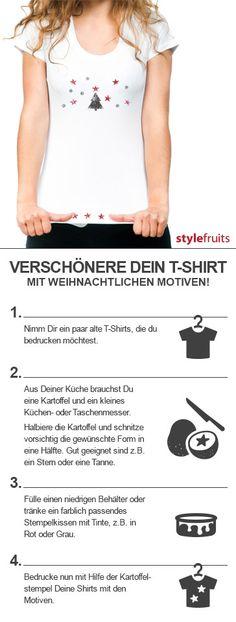 Mach Dir Dein eigenes Print-Shirt mit Kartoffeldruck!  DIY  Weihnachten Wer  zu faul zum Basteln ist findet tolle Print-Shirts auf stylefruits  ) 8fe00354e6