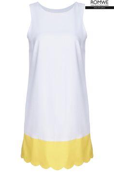 ROMWE | Dual-tone Hem White Dress, The Latest Street Fashion #ROMWE.