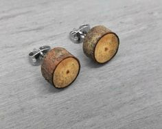 Spalted Apple Wood Slice Stud Earrings by OneUrbanTribe