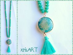Handmade necklace with turquoise agate stone