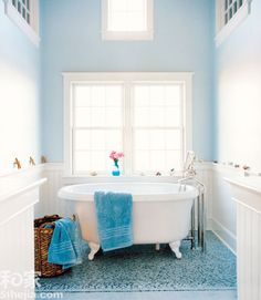 BWC  - Small Bathroom. Love the floor and the wood walls and light colour