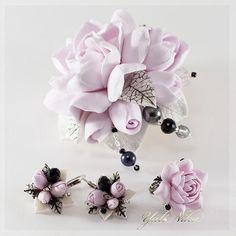 Купить Комплект с гардениями-2 - розовый, винтажный стиль, Элегантное украшение, подарок женщине