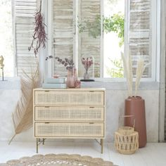 Solstice 3 Drawer Woven Rattan Chest of Drawers), £270 from Maisons du Monde (Affiliate Partner) Cane Furniture, Hallway Furniture, Bespoke Furniture, Unique Furniture, Shabby Chic Furniture, Contemporary Furniture, Bedroom Furniture, Interior Decorating Styles, Home Decor Trends