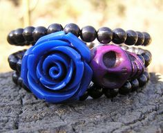 The Original Day of the Dead Sugar Skull Bracelet 3 Loops Wrap Around Memory NEW #donnaelizabethdesign #Beaded