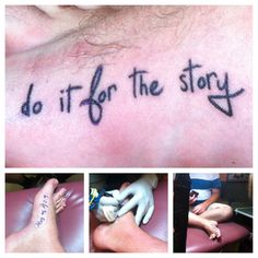 """""""Do it for the story"""" has been a fall back phrase of mine for awhile now, It's my version of YOLO. I've always tried to live my life to be one filled with good stories.  I've wanted this piece for awhile now and I am incredibly happy with the outcome, I got it done at Peacock Tattoo in Jacksonville Fl.."""