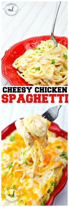 Cheesy Chicken Spaghetti Cake Recipe : Ooey gooey creamy cheese in a baked meal the whole family will want seconds