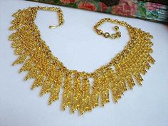 Vintage Gold Bib Necklace  Chunky Abstract by bodaciousjewels, $65.00