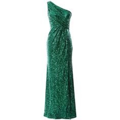 MACloth Women Mermaid Sequin Prom Dress One Shoulder Long Formal... ($129) ❤ liked on Polyvore featuring dresses, homecoming dresses, sequin homecoming dresses, green formal dresses, long sequin dress and green sequin dress