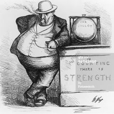 Thomas Nast, a prominent political cartoonist drew this cartoon about William Magear Tweed. Tweed was later jailed, escaped, and died.