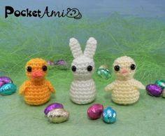 Easter - PocketAmi Set 5 - Duckling, Bunny, Chick amigurumi PDF CROCHET PATTERNS