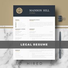 Attorney Resume Template  Legal Resume  Lawyer Resume  Cv
