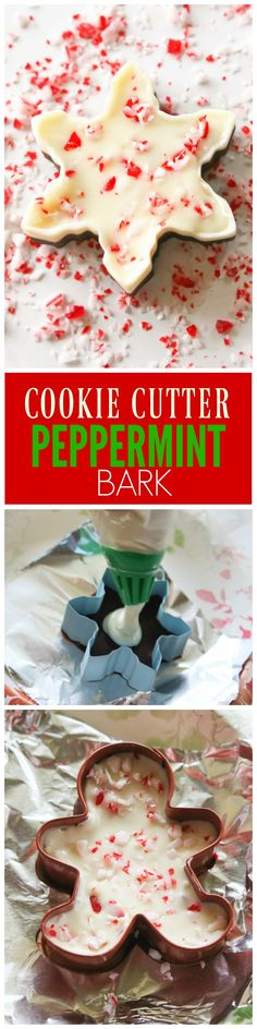 Cookie Cutter Peppermint Bark Cookie Cutter Peppermint Bark – the-girl-who-ate-… Christmas Sweets, Christmas Goodies, Christmas Candy, Diy Christmas, Christmas Things, Christmas Wedding, Merry Christmas, Holiday Treats, Holiday Recipes