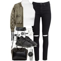 Outfit with a bomber jacket and roshes