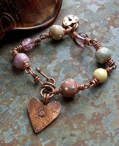 Bracelet Copper Heart Charm Lilac Lavender Ceramic by lunedesigns