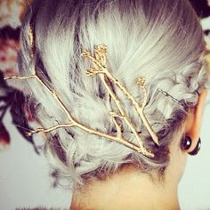 Grey hair with golden branches