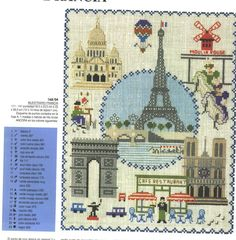 Paris Monuments 1 - photo of it finished w/all colors and color chart for floss. Cross Stitch House, Beaded Cross Stitch, Crochet Cross, Cross Stitch Embroidery, Cross Stitch Designs, Cross Stitch Patterns, Paris Monuments, Blackwork Patterns, Kids Patterns