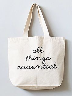 all things essential tote bag, lettering, simple, type, typography Tote Bag Organizer, Diy Tote Bag, Sewing To Sell, Canvas Designs, Linen Bag, Bag Design, Fabric Bags, Market Bag, Reusable Bags