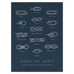 MADE BY: The Wild Wander SHIPS FROM: Richmond, Virginia DETAILS: A hand-illustrated chart detailing basic mariner's knots. Original illustration screen-printed in white ink. Printed on high quality Fr