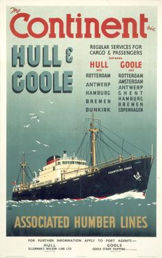 The Continent via Hull and Goole Regular Services for Cargo Passengers' Poster produced for British Railways North Eastern Region promoting services...Associated Humber Lines (A.H.L.) was created in 1935 to manage the services of various railway controlled shipping lines including port activities in the Humber area of the United Kingdom. The ownership of the respective vessels did not transfer to A.H.L and similarly the ports concerned, Hull, Goole and Grimsby, also remained under the…