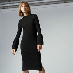 Warehouse, FLARE CUFF DRESS Black 0
