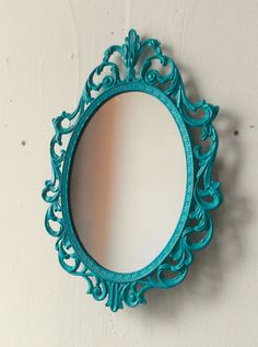 Fairy Princess Mirror - Ornate Vintage Frame in Bright Turquoise - 10 by 7 inches. $25.00, via Etsy.