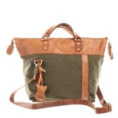 LECONI Henkeltasche Schultertasche Damentasche Canvas Leder grün LE0043