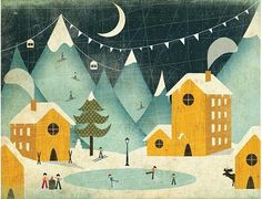 thevintaquarian:    Winter Scene: by Andrew Bannecker (via Illustration)