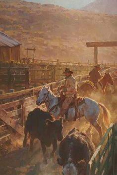 """Working the Alley"" by Jason Rich (Cowboy Artist) Cowboy Artwork, Westerns, Cowboy Pictures, Cowboy Horse, Cowboys And Indians, Real Cowboys, West Art, Cow Girl, Le Far West"