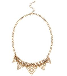 Gold Aztec Cut Out Triangle Necklace