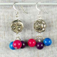 Silver Sun and Moon dangle earrings purple pink by beadwizzard