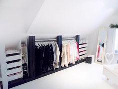 Attic closet (my ideal home .) - # attic closet - Loft closet (my ideal home …) - Attic Storage, Bedroom Storage, Storage Spaces, Bedroom Decor, Eaves Storage, Storage Ideas, Wardrobe Storage, Storage Solutions, Storage Design