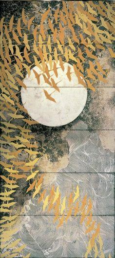 "relena-shizuka: "" ""Kayama Matazo 加山 又造 (1927-2004) A thousand cranes 千羽鶴 - pair of six-fold screens - The National Museum of Modern Art, Tokyo, Japan - 1970 "" """