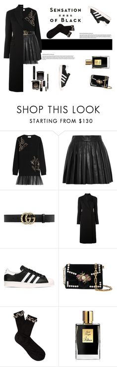"""""""Mission Monochrome: All-Black Outfit"""" by fashionbrownies ❤ liked on Polyvore featuring RED Valentino, Alice + Olivia, Gucci, Maison Margiela, adidas, Proenza Schouler, Raey, Vision and Kilian"""