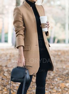 Coats -  45.99 - Long Sleeve Stand Collar Buttons Coats (1715360373) Casual  Outfits 990f073127cd