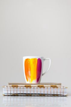 DIY Creative and Easy Mug Designs. To DIY a creative design, all you need is one colored mug, markers designed for mugs and an oven.