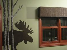 I Love This...Stenciling Birch Trees & A Moose On A Bathroom Wall...The Cornice Above The Window Is Textured & Painted To Resemble Tree Bark...