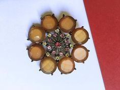 Vintage Faceted Lucite Rhinestone Brooch  Brown and Pink