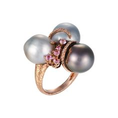 Tara Pearls Tahitian Pearl Ring with Brown Diamonds, Pink Sapphires, and Rose Gold featured in vente-privee.com