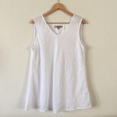"""Item: FLAX 100% linen white extra long v-neck tank  Size: M  Condition: perfect!  Price: $30  Shipping: $5  Material: 100% linen  Pit: 20.5""""  Length: 29""""  Hip: 26.5""""  Picture on available: no  Seller: cmwider   Protocol: Please tag me and leave your zip code to purchase--item goes to first zip code listed. Please DM me your email. If there are backups, I will move onto them after 3 hours."""