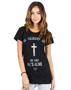This is what makes Jesus different from everyone else and every other religious figure. We dont believe in a dead God. We believe in a Savior Who is alive and Has the power to give life!    Material: 100�0cotton Fit:  Standard  Wash Instructions:  Machine wash cold inside out with similar colors, tumble dry low, do not iron print, only non-chlorine bleach when needed  Printed in: USA  Produced in: Mexico - Fair Labor Policy