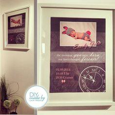 #baby #present #gift #diy #picture #frame #born #vintage #girl