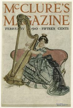 Young woman in evening gown playing the harp.  [McClure's Magazine, February 1910.]