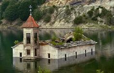 The church of St. Nicholas in Mavrovo, Macedonia was built in 1850 and stood for a 153 years until it was decided an artificial lake was needed in the village. At one point the church was fully submerged, but it resurfaces in summer droughts.