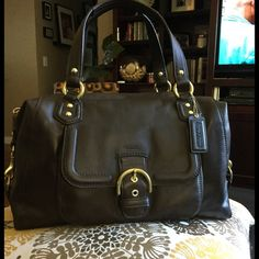 """Coach Campbell Satchel F25151 Gorgeous rich chocolate brown soft leather bag. Never used...impulse buy. New inside and out.  Double leather straps with a drop of 6 inches, and long shoulder strap with a 12 inch drop One exterior pocket with magnetic buckle closure, one zippered interior pocket, two multifunction interior pockets, and a zippered top with lined interior Size: 14"""" (L) x 9"""" (H) x 5"""" (D) Coach Bags"""