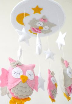 Baby Crib Mobile - Baby Mobile - Nursery Crib Mobile - Pink and Beige Owl Mobile Sleeping Owls Owl Mobile, Baby Crib Mobile, Baby Mobiles, Baby Crafts, Felt Crafts, Unique Baby Cribs, Nursery Crib, Elephant Nursery, Baby Owls